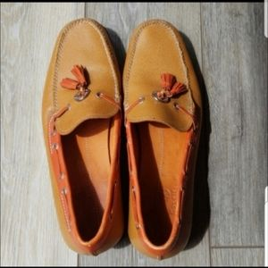 Tan and orange ColeHaan loafers